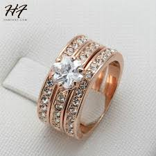 rose color rings images Crystal 3 round rose gold color ring jewelry made with genuine swa jpg