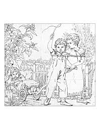 vntage drawing with children vintage coloring pages for adults