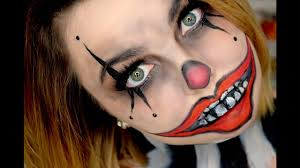 easy face makeup for halloween easy scary clown tutorial last minute halloween makeup youtube