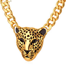 big statement necklace images Statement necklace leopard head big pendant yellow jpg