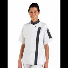 blouse de cuisine femme veste de cuisine manches courtes pour femme en polyester