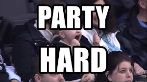 Hockey Meme Generator - party hard excited hockey baby meme generator