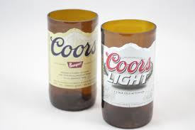 drinking glasses upcycled from coors or coors light beer zoom