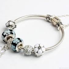 bangle style charm bracelet images 2017 newest popular charm bracelets white four leaf clover jpg