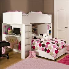 chic white and pink bunk bed for girls with polkadots bedding set