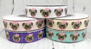 dog ribbon 7 8 pugs ribbon us designer ribbon glitter ribbon pug ribbon