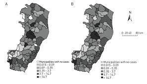 spatial analysis of distribution of dengue cases in espírito santo