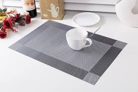 europe style 4pcs set pvc square dining table placemat gold gray