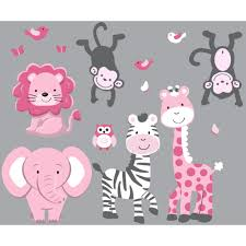 gray jungle safari stickers for children pink gray jungle safari stickers for children