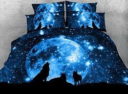 Galaxy Bed Set Warm Tour 4pcs Blue Duvet Cover Digital Print 3d Galaxy Wolf