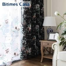 Black Floral Curtains Aliexpress Buy Black Floral Windows Curtain Drapes