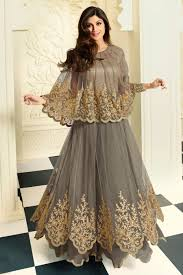 gown style dresses online shopping shilpa shetty grey net georgette gown style salwar