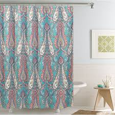 At Home Curtains Anastasia Blue And Coral Shower Curtain Details Details