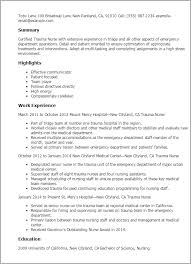 Occupational Therapy Resume Examples by Professional Trauma Nurse Templates To Showcase Your Talent