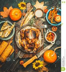roasted whole stuffed chicken or turkey for thanksgiving day