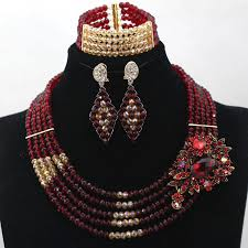 chunky crystal necklace sets images Charms burgundy wine and gold chunky crystal beaded women jpg
