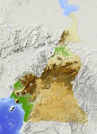 Map Of Cameroon Cameroon Shaded Relief Map Surrounding Territory Greyed Out
