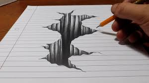trick art on line paper drawing 3d hole youtube