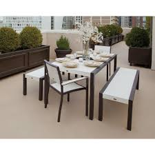 Patio Dining Set With Bench Trex Outdoor Furniture Surf City Textured Bronze 5 Bench