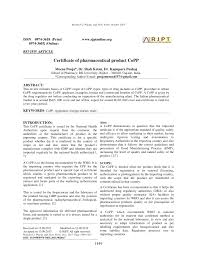 Certification Approval Letter Certificate Of Pharmaceutical Product Copp Pdf Download Available