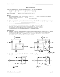 worksheets parallel and series circuits worksheet opossumsoft