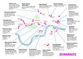 london markets map showing portobello market brick lane market
