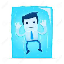 illustration cartoon office worker frozen block ice