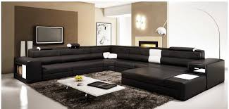Large Sofa Bed Polaris Large Sectional Sofa In Black Leather