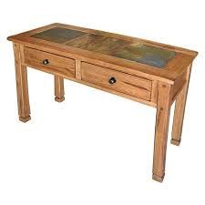Oak Sofa Table With Drawers Sedona Sofa Table With Slate Top In Rustic Oak Nebraska