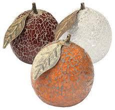 mosaic crackle glass orange with leaf fruit ornament orange or