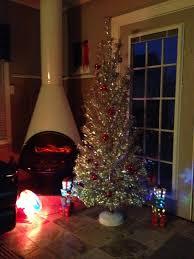 christmas aluminum christmas tree closeup detail of retro with