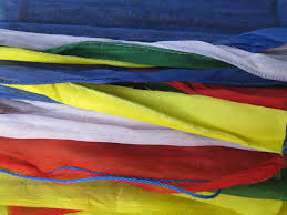 Red Blue Yellow Flag Tibetan Prayer Flags String Of 25 Large Flag In High Grade Cotton
