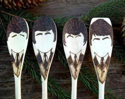 sgt pepper wooden spoons beatles gifts woodburned home