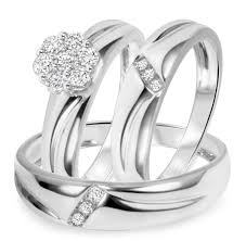 wedding ring trio sets 1 2 ct t w diamond trio matching wedding ring set 14k white gold
