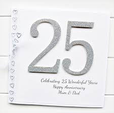 25th anniversary card personalised wedding silver husband