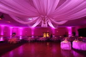 ceiling draping for weddings party venue pink lighting maine event design décor up