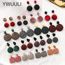 button earrings korean creative handmade houndstooth velvet cloth button earrings