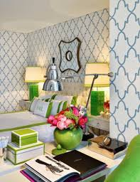 bright white green bedroom interior design with modern bed and