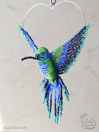 beaded bird suncatcher beaded hummingbird ornament bird necklace