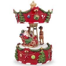 7 animated rotating carousel santa and reindeer musical