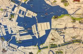 World Map Fabric by Map Tokyo Bay Map City Japan Monuments Shinagawa Nihon Cotton