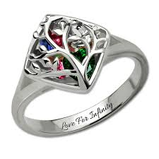 ring with birthstones wholesale family tree cage ring with birthstones sterling silver