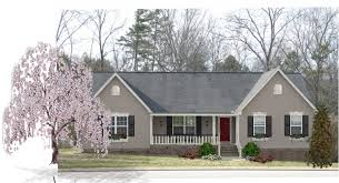 tan siding black shutters white trim and gray steel roof ideas