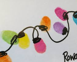 Arts And Crafts Christmas Cards - beneath the rowan tree christmas card thumb print string of lights