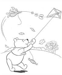download pooh playing kite coloring print pooh playing