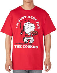 snoopy christmas t shirt peanuts mens t shirt snoopy christmas here for cookies