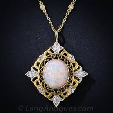 opal necklace vintage images Antique opal and diamond necklace jpg