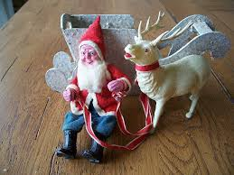 vintage paper mache santa with sleigh and reindeer christmas from