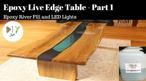 live edge river table epoxy epoxy river table with live edge led lights part 1 youtube