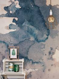ink blot watercolour paint wallpaper mural navy wallpaper